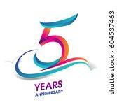 five years anniversary... | Shutterstock .eps vector #604537463