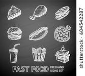 set of chalkboard freehand fast ... | Shutterstock .eps vector #604542287