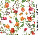 seamless floral pattern with... | Shutterstock . vector #604546763
