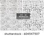 set of two hand drawn seamless... | Shutterstock .eps vector #604547507