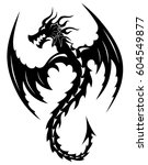 tattoo tribal dragon. tribal... | Shutterstock .eps vector #604549877