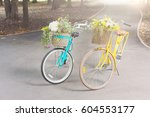 women city bicycles with... | Shutterstock . vector #604553177