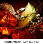ice cube and lime splashing... | Shutterstock . vector #604560443