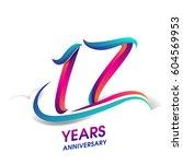 seventeen years anniversary... | Shutterstock .eps vector #604569953
