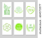 set of eco friendly labels.... | Shutterstock .eps vector #604573577
