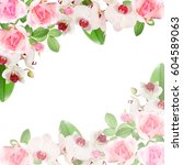beautiful floral pattern of... | Shutterstock . vector #604589063
