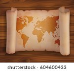 world map on ancient horizontal ... | Shutterstock .eps vector #604600433