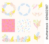 beautiful floral decoration set.... | Shutterstock .eps vector #604602587