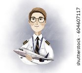cute pilot character with plane ... | Shutterstock . vector #604607117