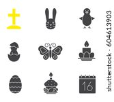 easter glyph icons set. april... | Shutterstock .eps vector #604613903