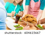 group of young people at dining ... | Shutterstock . vector #604615667