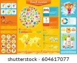 summer beach travel icon set... | Shutterstock .eps vector #604617077
