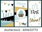 happy birthday party cards set...