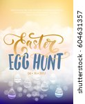 easter egg hunt  vector easter... | Shutterstock .eps vector #604631357