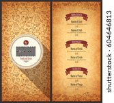 restaurant menu design. vector... | Shutterstock .eps vector #604646813