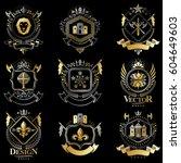 heraldic coat of arms created... | Shutterstock .eps vector #604649603