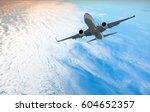 passenger plane fly down over... | Shutterstock . vector #604652357