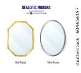 realistic mirrors set vector.... | Shutterstock .eps vector #604656197