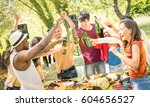 young multiracial friends... | Shutterstock . vector #604656527