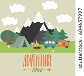 summer camping landscape.... | Shutterstock .eps vector #604657997