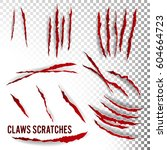 claws scratches vector.... | Shutterstock .eps vector #604664723