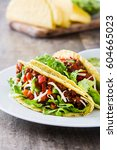 traditional mexican tacos with... | Shutterstock . vector #604665023