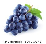 Dark Blue Grape With Leaves...