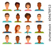 avatar collection for men and... | Shutterstock .eps vector #604678913