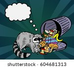 raccoon eats from the trash and ... | Shutterstock .eps vector #604681313