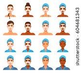 avatar set of men and women in... | Shutterstock .eps vector #604681343