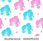 seamless patterns with orchid... | Shutterstock .eps vector #604690103