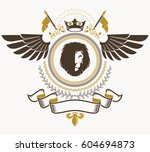 heraldic sign  element ... | Shutterstock .eps vector #604694873