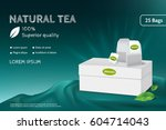 tea advertising banner. white... | Shutterstock .eps vector #604714043