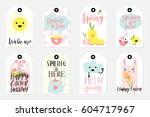 set of spring and easter gift... | Shutterstock .eps vector #604717967