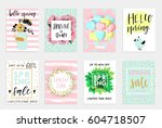 set of spring gift cards and... | Shutterstock .eps vector #604718507
