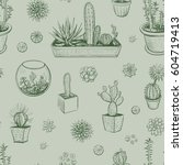 vector hand drawings of cacti... | Shutterstock .eps vector #604719413