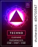 techno music poster. electronic ... | Shutterstock .eps vector #604733567