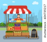 male street vendor selling... | Shutterstock .eps vector #604735217