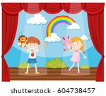 boy and girl doing puppet show... | Shutterstock .eps vector #604738457