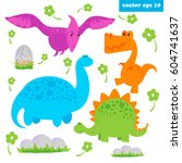 set of cartoon style vector... | Shutterstock .eps vector #604741637