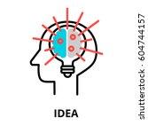 idea icon  flat thin line... | Shutterstock .eps vector #604744157