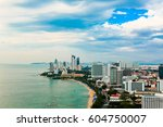 the city of pattaya from a bird'... | Shutterstock . vector #604750007