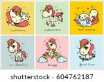 cute magic unicorn cards with... | Shutterstock .eps vector #604762187