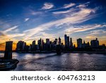manhattan skyline and brooklyn... | Shutterstock . vector #604763213