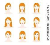 female avatar set  woman faces... | Shutterstock .eps vector #604765757