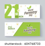 forestry day label and banner... | Shutterstock .eps vector #604768733