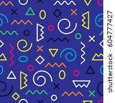 memphis seamless pattern.... | Shutterstock .eps vector #604777427