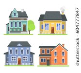 cute colorful flat style house... | Shutterstock .eps vector #604777847
