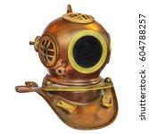 vintage deep sea diving helmet... | Shutterstock . vector #604788257