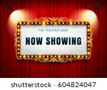 theater sign on curtain | Shutterstock .eps vector #604824047